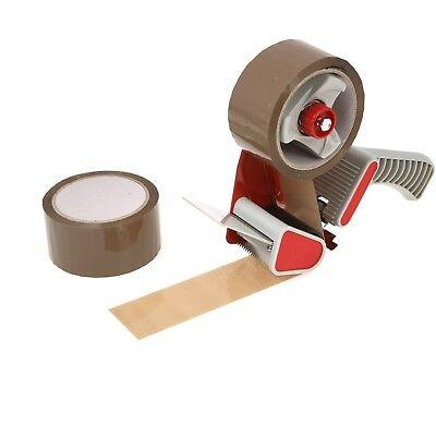 Tape Gun Dispenser + 6 Huge Rolls Of Brown Buff 48mm x 66m Parcel Packing Tape