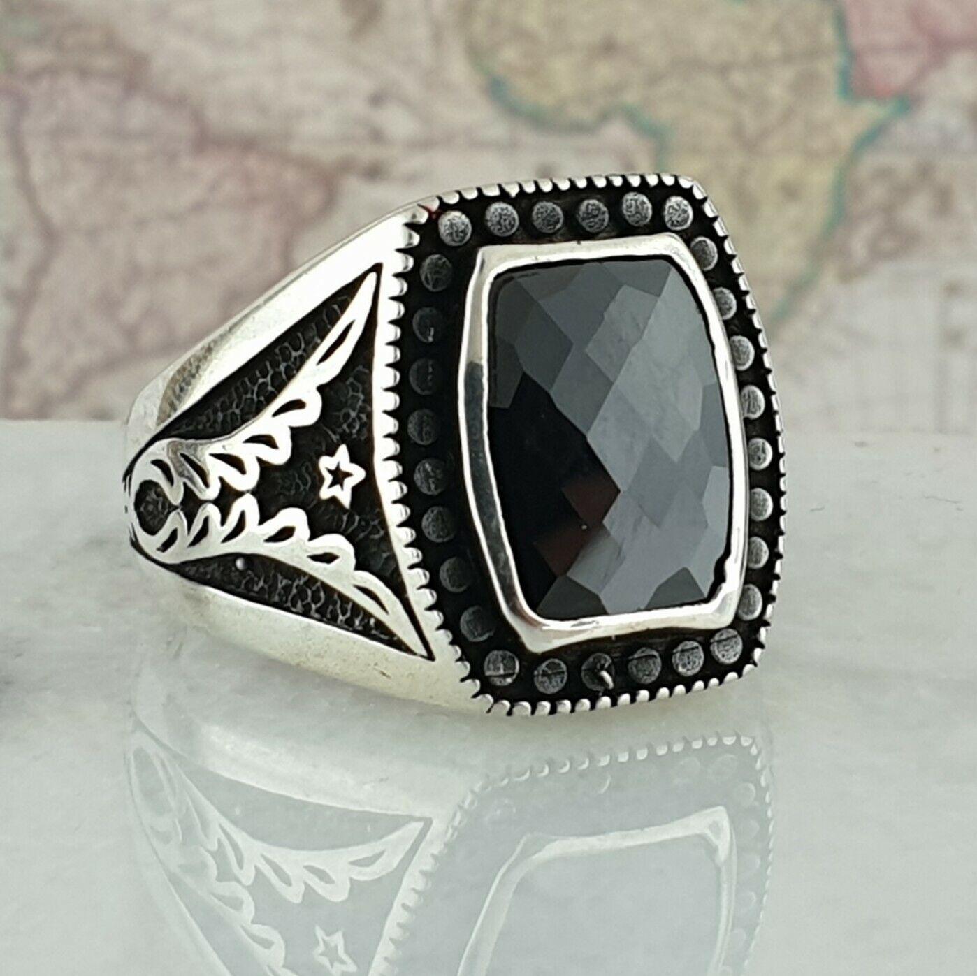 Turco otomano Negro Onyx piedras preciosas sólido de plata esterlina 925 Anillo para hombre