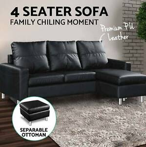 Pu Leather Sofa Bed Modular Lounge Suite Chaise Double Couch