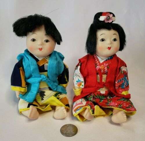Vintage Chinese Asian Oriental Dolls Pair Set 2 Child Sitting Traditional Outfit