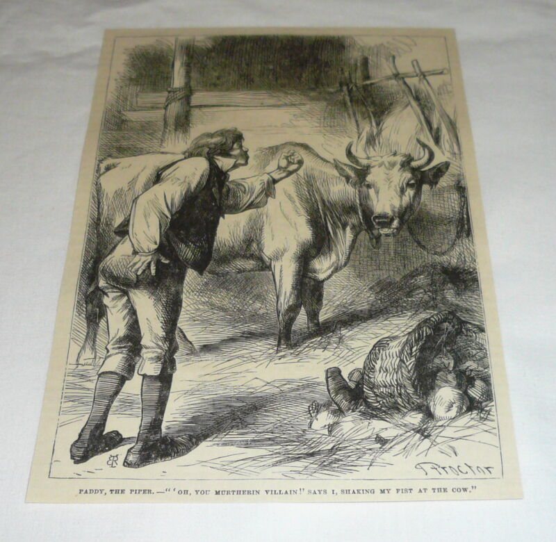 1878 magazine engraving ~ FARMER CURSING THE MILK COW