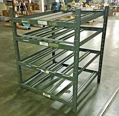 Rolling Gravity Flow Skate Roller Rack Shelving Unit 49 12l X 47 12w X 60h