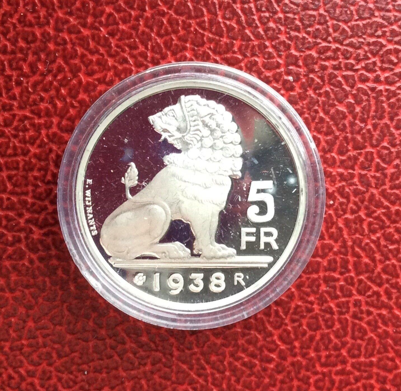 Belgique - Refrappe officielle Monnaie Royale - Rare 5 Francs  1938  FR - Argent