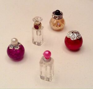 Dolls House Miniatures Or Collectors. 5 Tiny Glass Perfume Bottles.  Not A Toy.