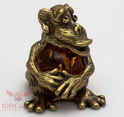 Russian Solid Brass Amber Figurine Monkey w amber belly Totem talisman IronWork