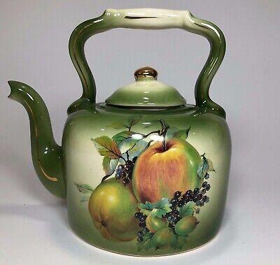 Large Ceramic Green Tea Kettle / Tea Pot with lid Kitchen Decor Apples and Fruit (Large Tea Pot Ceramic)