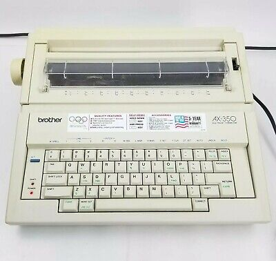 Brother Portable Electric Typewriter Ax-350 Daisy Wheel With Manual