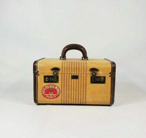 Vintage Gold Tan Tweed Striped Train Case Suitcase 1940