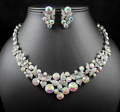 - BUTTERFLIES AB WHITE AUSTRIAN RHINESTONE NECKLACE EARRING SET BRIDAL N1625AB