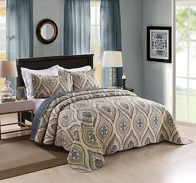 3 Piece Lightweight Quilt King Printed Quilt Set Bedding Lightweight (Oversize Quilt Set)