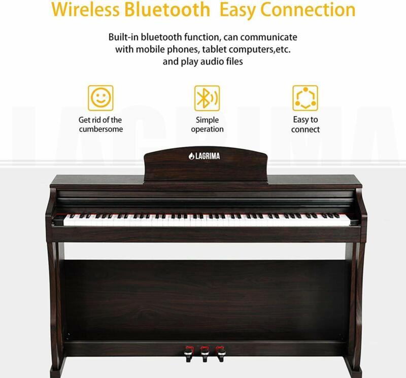 LAGRIMA Key Weighted Hammer Action Digital Piano Bluetooth Remote Control Brown
