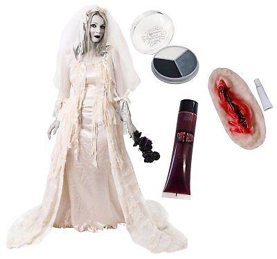 ZOMBIEBRAUT KOSTÜM HALLOWEEN MAKEUP  BLUT VAMPIRE WUNDE VERKLEIDUNG KARNEVAL (Braut Kostüm Make Up)