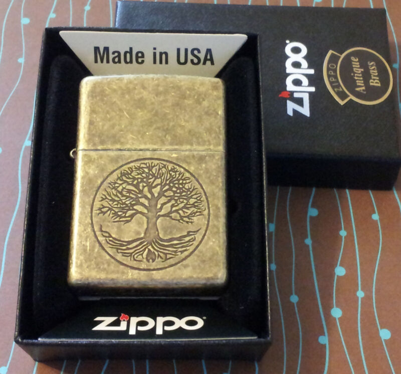 ZIPPO 29149 Tree of Life Antique Brass Etch NEW in box Windproof Lighter F