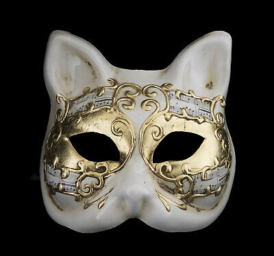 Mask from Venice Cat Golden Luxury Gatto Musica Fancy Dress Prom 22497