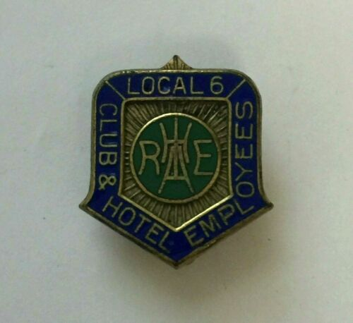 Club & Hotel Restaurant Employees Pin Union Member Local 6 New York Pinback Vtg