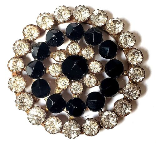 Exquisite Large Antique Riveted Black Glass  Button with Loads of Sparkly Paste