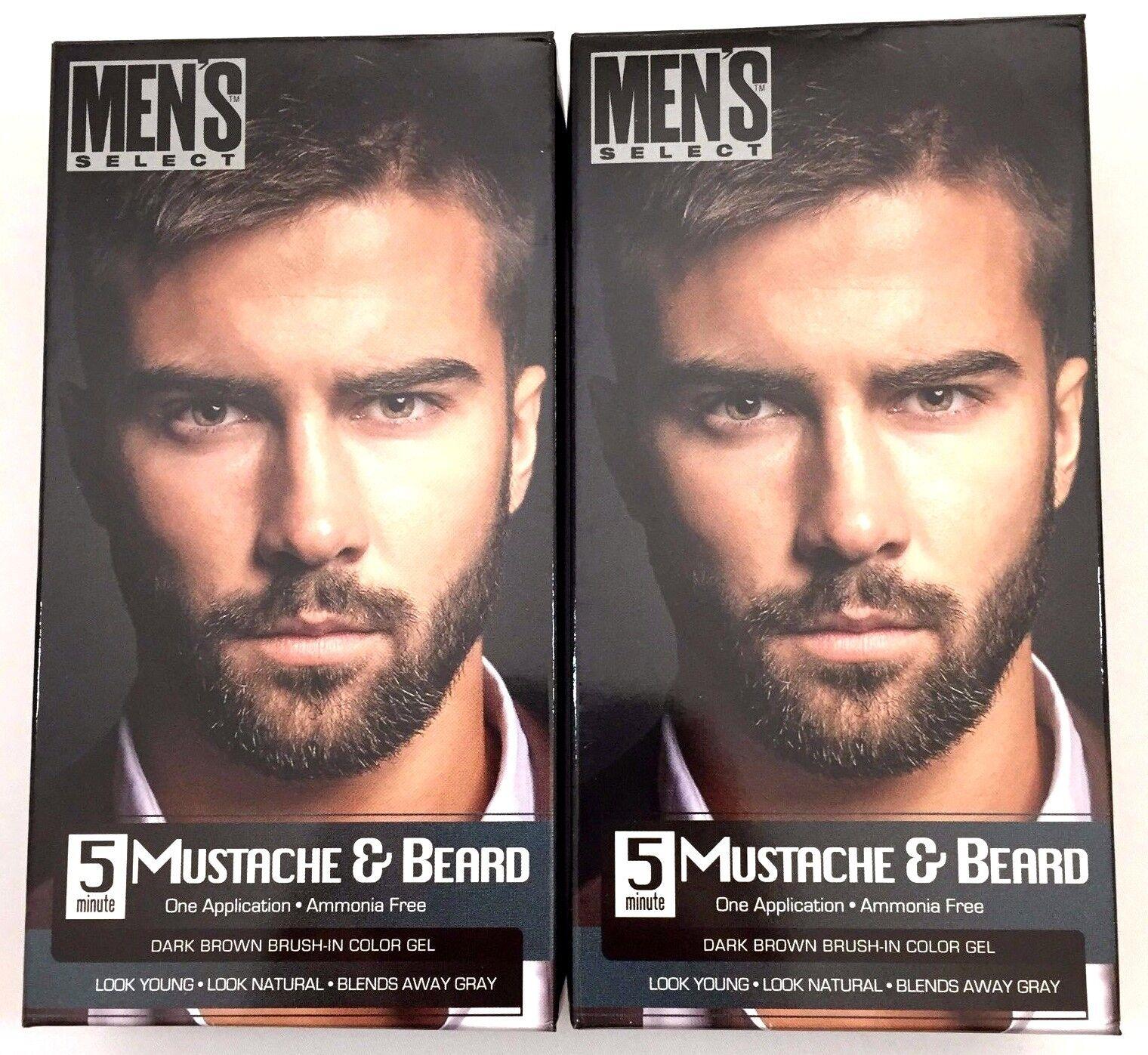 2x Mens Hair Color Dye Dark Brown Select Mustache & Beard Ha