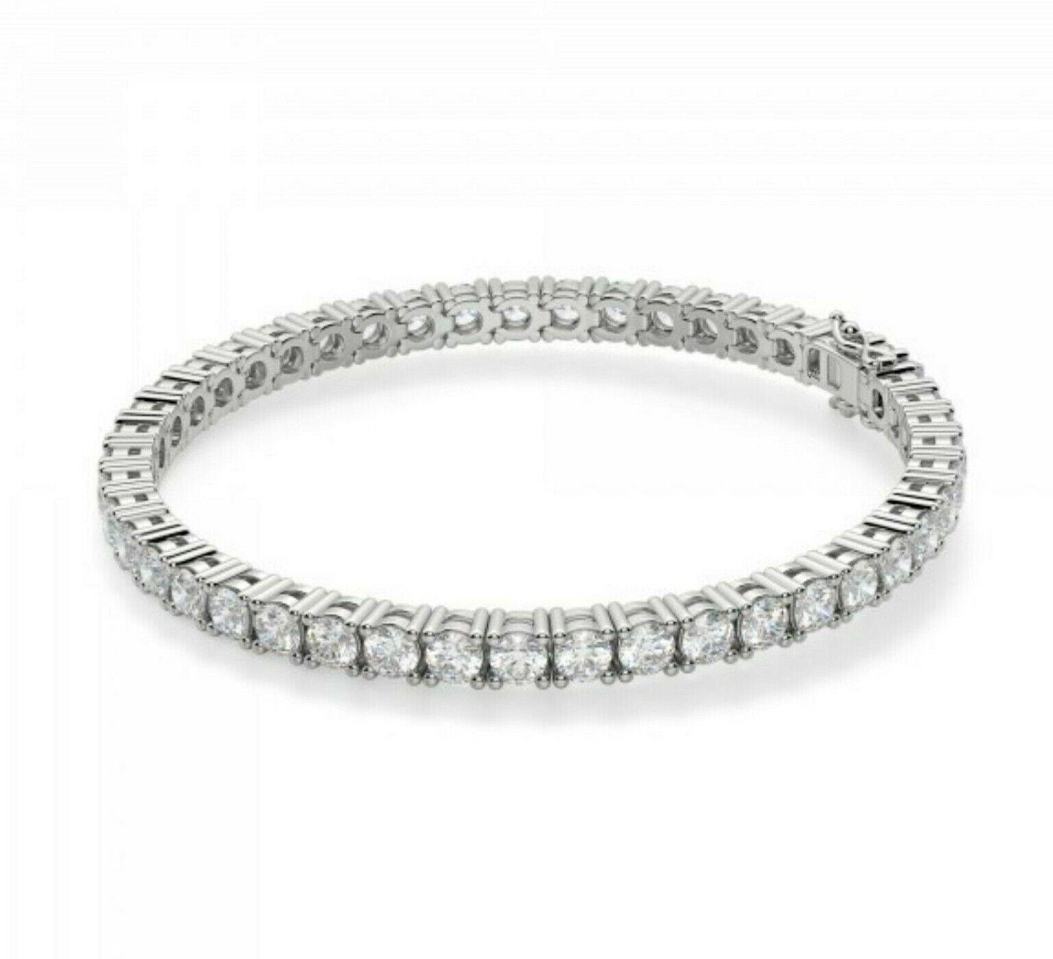 20 Ct Diamond Tennis Bracelet for Women Men in 14k White Gold Over Diamonds