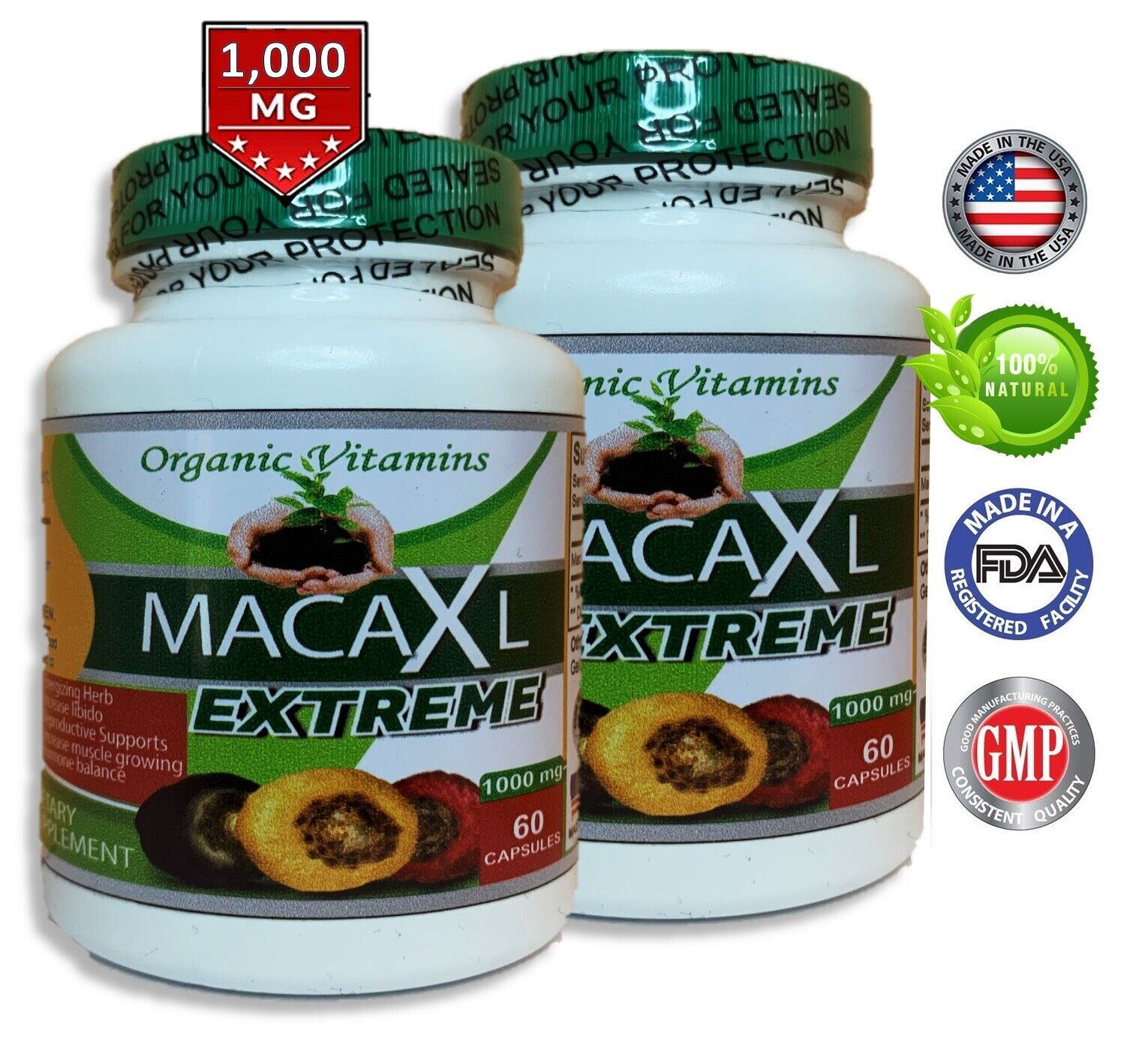 Organic maca root black red yellow 120 capsules peruvian maca extreme extract  1