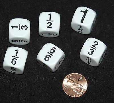 Fraction Dice Set (NEW Set of 6 FRACTION DICE (1/6~1/3~1/2~2/3~5/6~1) Math Home Classroom Resource )