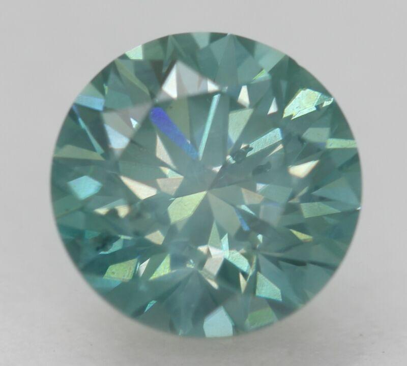 Cert 1.45 Sky Green Blue VS1 Round Brilliant Enhanced Natural Diamond 7.12mm 3EX