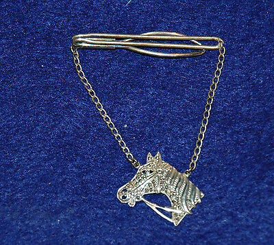 Vintage Sterling Silver Horse Head Equestrian Tie Bar Clasp