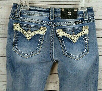 MISS ME White Leather Trim Pockets Bootcut Jeans SIZE 30 Flap Pocket Blue Denim  - Flap Pocket Leather Jeans