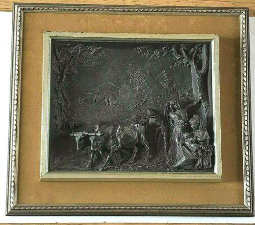 Signed Henry (Henri) Weisse Bronze Framed 19th Century Sculpture Farm Family