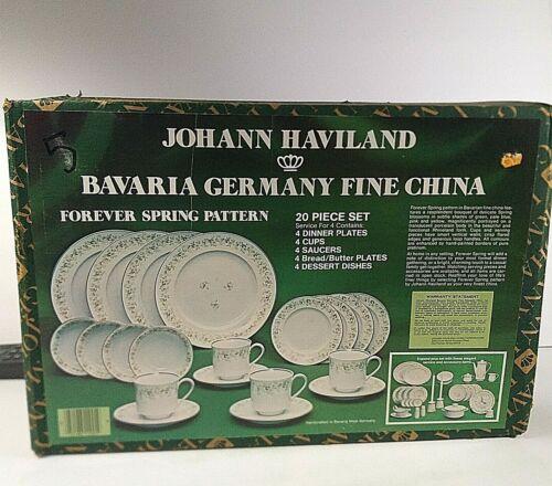 Johann Haviland Bavaria Germany FOREVER SPRING 20 Piece Dish Set NEW Cups Plates