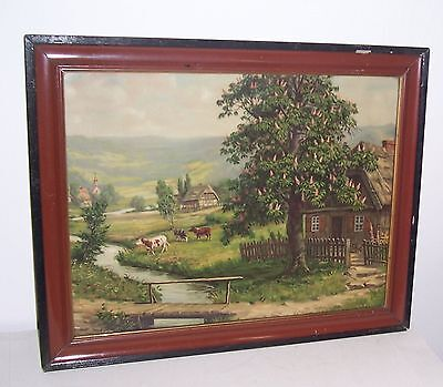 Antiker Druck Bauernhaus Fachwerk Landschaft im Lackrahmen um 1900 Landhaus !