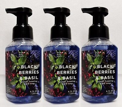 (3 Bath Body Works BLACKBERRIES & BASIL Gentle Foaming Hand Soap )