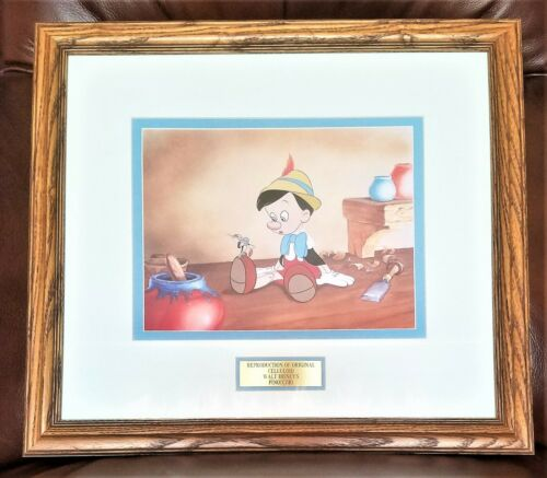 Disney Pinocchio Jiminy Celluloid Drawing Reproduction. Used in Show. Framed