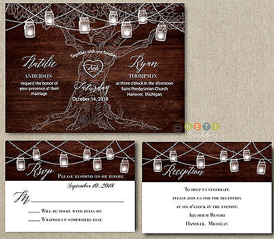 Wedding Invitation Sets (100 Wedding Invitation set Rustic Wood Mason Jar lights with Envelopes)