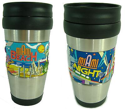 2 New Miami South Beach Day Night Souvenir Tumbler Travel Mug Thermos Cup 14oz