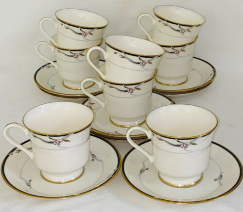"""8 Gorham China *MANHATTAN IVORY 3 1/4"""" FOOTED CUPS & SAUCERS"""