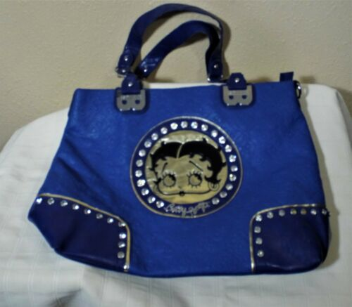 BETTY BOOP BAG PURSE BLUE WITH RHINESTONES PREOWNED EXCELLENT BARELY USED CONDIT