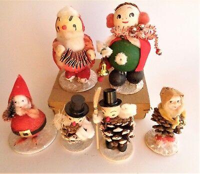 Vintage Christmas Santas Pine Cone Elf  Snowman Christmas Girl Display