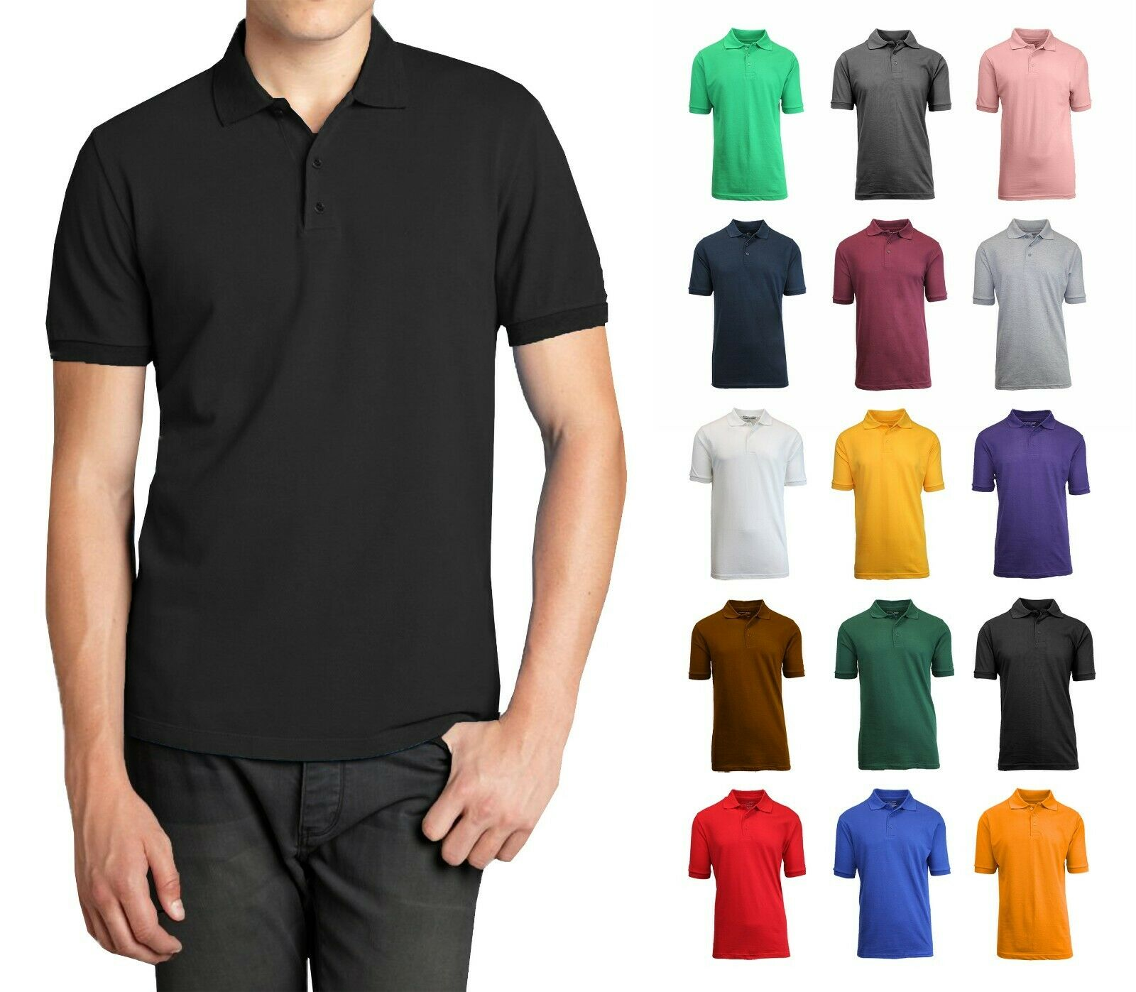 Men Polo Shirt Size S M L XL XXL New Standard Neck Classic NWT Uniform Lounge Casual Button-Down Shirts