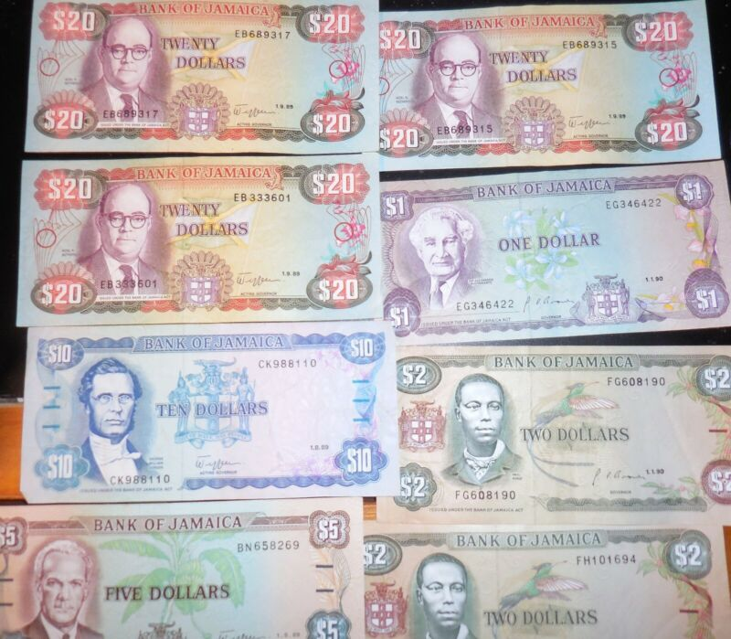 Jamaica Dollars Currency Presidents and Paul Roble  Free Shipping