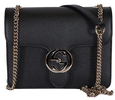 NEW Gucci Women s Black Leather 510304 Interlocking GG Crossbody Purse  Handbag 494e3a0d15006
