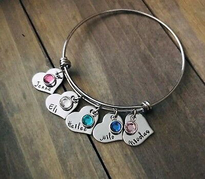 Personalized Charm Bracelets (Name Bracelet Custom personalized birthstone Jewelry Heart charm Mother Mom)