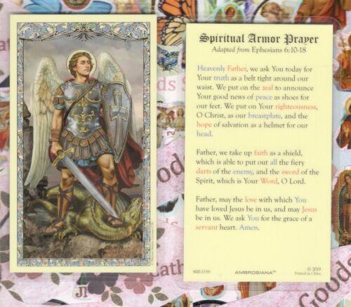 Saint St. Michael - Spiritual Armor Prayer - Laminated  Holy Card