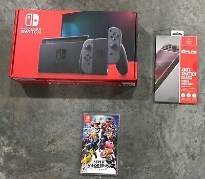 NEW Nintendo Switch V2 Gray 32GB Console w/ Super Smash Brothers Ultimate + More