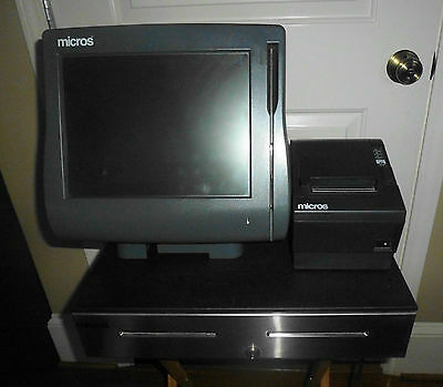 Micros Model Workstation 4 Ws4 Pos System Unit With Cash Drawer Printer