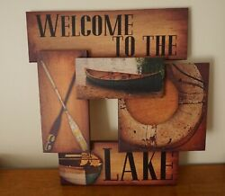 WELCOME TO THE LAKE House Sign Rustic Boat Oar Lifesaver Cabin Lodge Home Decor