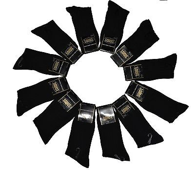 12 Pairs Mens All Black Dress Socks Fashion Casual Cotton Dozen Size 10-13 New
