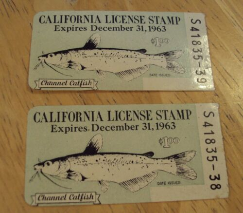 """1963 Lot of 2  """"CALIFORNIA LICENSE STAMP""""~Channel Catfish~"""