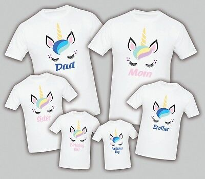 Unicorn Birthday Matching T-shirts  Party Family Kid Tshirt Mom, dad, sister