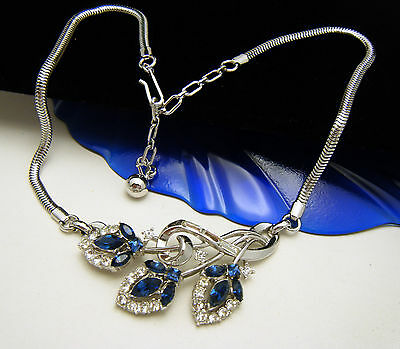 Crown Trifari Blue Rhinestone Necklace Pat Pend 1950s Choker Clear Baguettes on Lookza