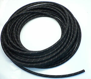 -6 AN E85 Pro's Lite Black Nylon Braided Fuel Line Hose 500 PSI Fluoroelastomer